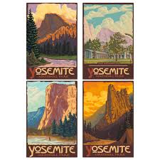 Yosemite National Park California Ahwahnee Wall Decal Set At Retro Planet