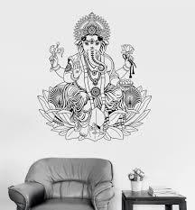 Vinyl Wall Decal Ganesha Lotus Hinduism God Hindu India Decor Stickers Unique Gift Ig3253 Wall Decals Ganesha