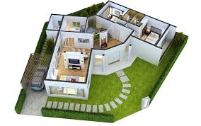two bedroom house plans in 3d