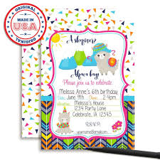Alpaca Pijamas Invitaciones Para Fiesta De Cumpleanos Di