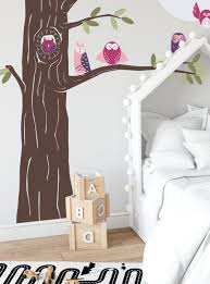Friendly Forest Owls With Corner Tree Wall Decal
