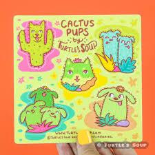 Cactus Pups Dog Vinyl Sticker Sheet Turtle S Soup