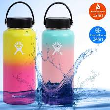 Hydro Flask Thermal Water Bottle Thermos Vsco Girl Kawaii Bottle Sport Vacuum Insulated Wide Mouth Flask Sticker Lid Straw 32oz Water Bottles Aliexpress