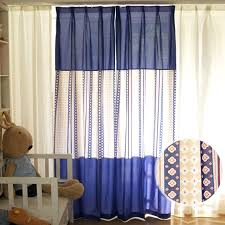 Navy Blue Geometric Linen Kids Room Nursery Striped Color Block Curtains