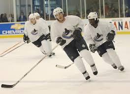 SEPTEMBER 2005: Brendan Morrison leads forwards during the final skate at  the Canucks training camp in Whistler.