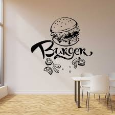 Burger Wall Decal Fast Food Cafe Restaurant Dining Room Decor Vinyl Nursery Kids Room Interior Wall Sticker Home Decoration Z184 Wall Stickers Aliexpress