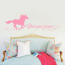 Chase Your Dreams Quotes Wall Decals With Horse Sticker Horse Wall Decals Girls Room Decals Cowgirl Wall Decals Vinyl Sticker Dream Quotes Girls Roomvinyl Stickers Aliexpress