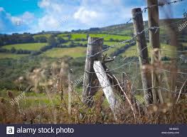 Corner Fence Post With Barbed Wire Stock Photo Alamy