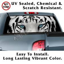 White Bengal Tiger Eyes Back Window Graphic Perforated Film Decal Truck Ebay