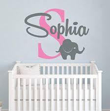 Amazon Com Zixinruies Elephant Name Wall Decal Vinyl Decals Sticker Custom Name Decals Personalized Baby Girl Name Elephant Decor Nursery Baby Room Art Decor Home Kitchen