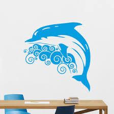 Dolphin Wall Decal Sea Waves Vinyl Sticker Bathroom Poster Decor Mural 121xxx Ebay