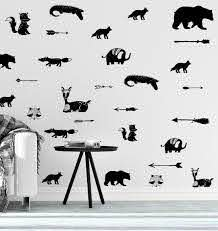 Amazon Com Nursery Wall Decals Tribal Decor Baby Wall Decal Bear Fox Deer Raccoon Decals Modern Nursery Wall Art Children Room Scandinavian Decor Handmade