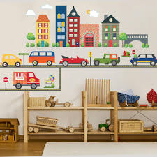 Busy Transportation Town Wall Decals Adventure Cars And Straight Road