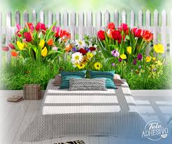 Wall Mural Fence With Tulips Muraldecal Com