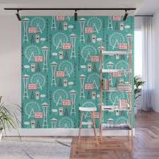 Seattle Travel Art Cute Decor For Nursery Kids Room Pattern Girls Or Boys Wall Mural By Charlottewinter Society6