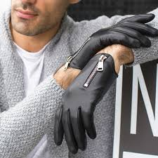 mens winter leather gloves man fashion