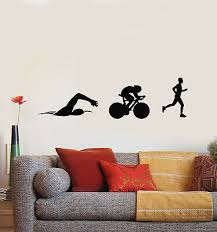 Vinyl Wall Decal Athlete Triathlon Swimming Cycling Running Stickers G577 Ebay
