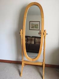 solid pine oval cheval mirror