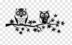 Owl Wall Decal Black And White Beak Transparent Png