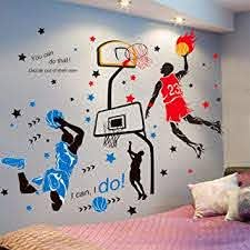 Amazon Com Kelay Fs 3d Basketball Wall Decals Sports Decor Basketball Player Wall Stickers Basketball Wall Decals Wallpaper For Boys Kids Room Decor Blue1 Red Baby