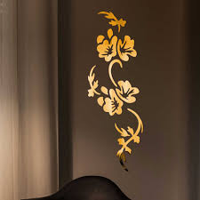 3d Flowers Design Acrylic Mirror Wall Sticker Bedroom Living Room Porch Decorative Wallpaper Decal Home Office Bar Decoration Wall Stickers Aliexpress