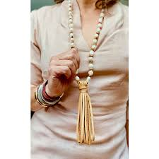 pearl leather tassel necklace