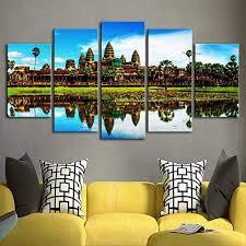 Framed Landscape Angkor Wat Temple Cambodia Canvas Prints Painting Wall Art 5pcs