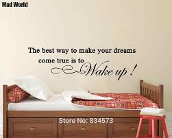 Make Your Dreams Come True Is To Wake Up Wall Art Stickers Wall Decals Home Diy Decoration Removable Room Decor Wall Stickers Wall Stickers Aliexpress
