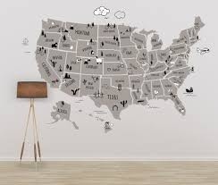Nursery Usa Map United States Map With Names Clear Vinyl Decal U Walls2lifedecals