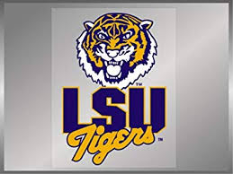 Amazon Com Lsu Tigers Classic Lsu With Tiger Head Static Cling 11 Vinyl Decal Louisiana State Automotive