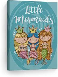 Amazon Com Smile Art Design Cute Three Little Mermaid Decor Girls Canvas Print Kids Room Decor Wall Art Baby Room Decor Nursery Decor Ready To Hang Made In The Usa 12x8 Posters