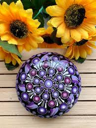Violetta Mandala Stone Mandala Art Dotting Art Rock Etsy
