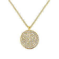 circle disc pendant necklace 14k yellow