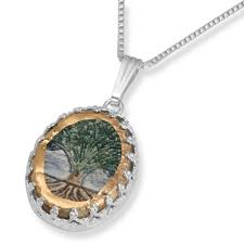 tree of life silver ceramic necklace