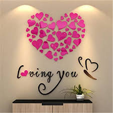Amazon Com Amiley Wall Stickers Bling Love Heart Diy Removable Vinyl Decal Art Mural Wall Stickers Home Room Decor Pink Baby