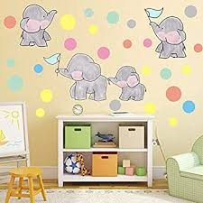 Amazon Com Imagitek Elephant Wall Stickers Lovely Elephant Family With Colorful Dots Wall Decals For Baby Girl Nursery Teen Girls Bedroom Baby