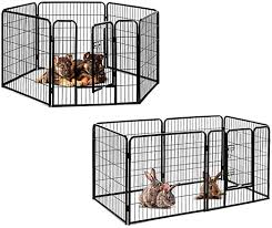 Amazon Com Pet Playpen Detachable Indoor Outside Dog Fences With Door Metal Wire 6 Panel Easy Assembly Apply For Various Animals Black Home Kitchen