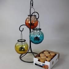 hanging glass orb tealight lanterns w