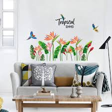 Birds Flying Quote Flower Green Plant Wall Sticker Vinyl Diy Tropical Palm Leaves Grass Mural Art For Living Room Wall Decals Wall Stickers Aliexpress