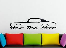Large Custom Car Silhouette Wall Sticker For 1969 Pontiac Gto Judge Hardtop Classic Muscle