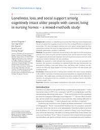 loneliness loss and social support