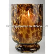 leopard glass hurricane 9 candle