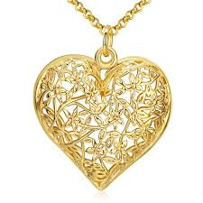 retro gold color heart pendant necklace
