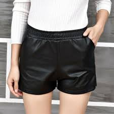 uk women high waist faux leather shorts