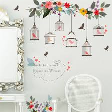 Colorful Flower Birds Birdcage Wall Sticker Elegant Art Pvc Wall Decal For Home Living Room 3d Garden Floral Wall Decoration Wall Decals Floral Wall Decorwall Sticker Aliexpress