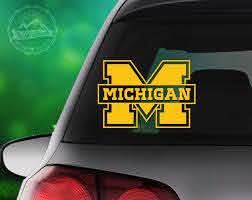 Michigan Decal University Of Michigan Decal Michigan Car Etsy