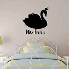 Amazon Com Personalized Swan Wall Decal Vinyl Sticker Decoration For Girl S Bedroom Playroom Or Nursery Decor Handmade
