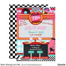 1950 S Retro Diner Personalizado Fiesta De Cumpleanos Invitaciones