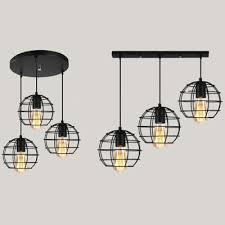 globe cage pendant lamp metal 3 lights
