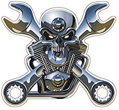 Amazon Com Boldergraphx 1050 Metal Looking Skull And Wrenches 4 Vinyl Decal Sticker Automotive